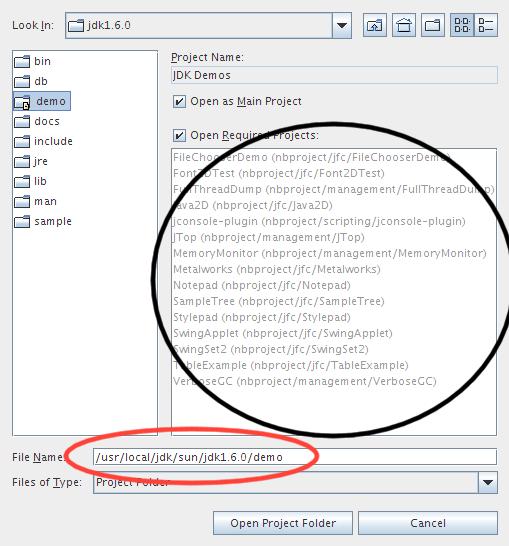 Demo do JDK 6 como projetos do NetBeans